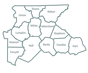 A Black and White illustration of the counties DRC serves.